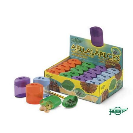 Точилка пластмассовая ТЕХНО с прозр. мини-контейнером картон. цвет. коробка FSH130